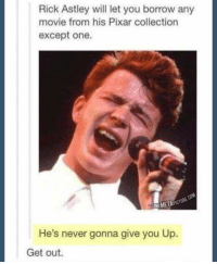 I've found it y'all. The meme of all memes. -R: Rick Astley will let you borrow any  movie from his Pixar collection  except one.  He's never gonna give you Up.  Get out. I've found it y'all. The meme of all memes. -R