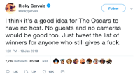 Gervais with a solution for The Oscars: Ricky Gervais  @rickygervais  Followv  l think it's a good idea for The Oscars to  have no host. No guests and no cameras  would be good too. Just tweet the list of  winners for anyone who still gives a fuck.  1:31 PM-10 Jan 2019  7,739 Retweets 65,341 Likes  。眷 Gervais with a solution for The Oscars