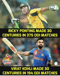 Indianpeoplefacebook, Virat Kohli, and Made: RICKY PONTING MADE 30  CENTURIES IN 375 ODI MATCHES  LAUGHING  VIRAT KOHLI MADE 30  CENTURIES IN 194 ODI MATCHES