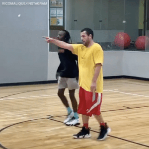 BREAKING: After watching this video, the Knicks have signed Adam Sandler to a 5 year, $100 million contract and named him their starting PG https://t.co/B64pf8KFcD: RICOMALIQUE/INSTAGRAM BREAKING: After watching this video, the Knicks have signed Adam Sandler to a 5 year, $100 million contract and named him their starting PG https://t.co/B64pf8KFcD