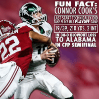 That Crimson Tide defense.... woof.: Riddel!  FUN FACTS  CONNOR COOK'S  LAST START TECHNICALLY DID  TAKE PLACE IN A PLAYOFF GAME  19/39, 210 YDS, 2 INT  IN 38-0 BLOWOUT LOSS  To ALABAMA  N CFP SEMI FINAL  @CBssports That Crimson Tide defense.... woof.