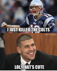 Aaron Hernandez is not impressed..: Riddel  MHK.  I JUST KILLED THE COLTS  @NFL MEMES  LOL THATS CUTE Aaron Hernandez is not impressed..