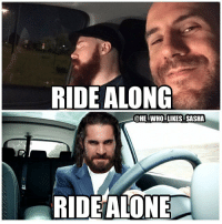 Funny, Ironic, and Memes: RIDE ALONG  @HE WHO LIKES SASHA  RIDEALONE This line was funny. SIDENOTE: It's pretty ironic that Seth and Cesaro were on an actual ride along episode😂. wwe wwememe wwememes sheamus cesaro sethrollins sethfreakinrollins deanambrose lunaticfringe ambroseasylum summerslam hardyboyz theshield wrestler wrestling wrestlemania prowrestling professionalwrestling worldwrestlingentertainment wweuniverse wwenetwork wwesuperstars raw wweraw mondaynightraw smackdown smackdownlive wwesmackdown nxt wwelive @wwecesaro @wwesheamus @wwerollins