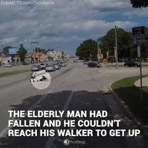 Memes, 🤖, and Com: RideMCTS.com/Excellence  LANE  THE ELDERLY MAN HAD  FALLEN AND HE COULDN'T  REACH HIS WALKER TO GET UP We need more people like this! 👏👏👏