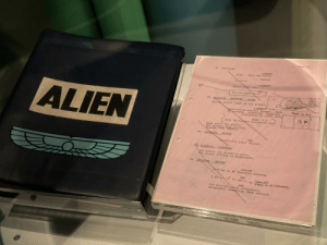 Ridley Scott's Hans-annotated script for Alien, 1979. His personal script while working on the film, shows his creative process. Seriously awesome. Shot at the Museum of Pop Culture in Seattle.: Ridley Scott's Hans-annotated script for Alien, 1979. His personal script while working on the film, shows his creative process. Seriously awesome. Shot at the Museum of Pop Culture in Seattle.