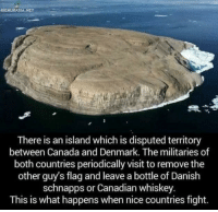 Funny, Memes, and The Other Guys: RIEMURASIA.NET  There is an island which is disputed territory  between Canada and Denmark. The militaries of  both countries periodically visit to remove the  other guy's flag and leave a bottle of Danish  schnapps or Canadian whiskey  This is what happens when nice countries fight. Funny Memes. Updated Daily! ⇢ FunnyJoke.tumblr.com 😀