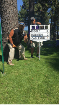 RED ALERT! I'm in the red at the American Century Championship! It's only been 3 holes but it's so awesome!: RIGGLE4  ROBERTSON 2  CABLE GUY 1 RED ALERT! I'm in the red at the American Century Championship! It's only been 3 holes but it's so awesome!