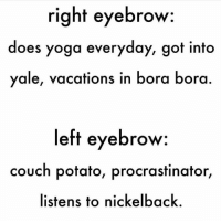 Memes, Couch, and Nickelback: right eyebrow  does yoga everyday, got into  yale, vacations in bora bora  left eyebrow  couch potato, procrastinator,  listens to nickelback.