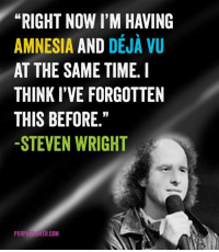 "Deja Vu: ""RIGHT NOW I'M HAVING  AMNESIA  AND  DEJA VU  AT THE SAME TIME. I  THINK I'VE FORGOTTEN  THIS BEFORE  -STEVEN WRIGHT  PURP  LOVER COM"
