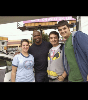 Dad, Terry Crews, and Gas Station: RIGHT ON AVIATION, LER  NO1O  CQualtyed  6.6  STATES  ASHEHGTO  CAPER Thought this would be appropriate here. My brothers and I met Terry Crews at a gas station in LA in 2012. We were so star struck we had to have our step dad at the time ask if we could get a picture.