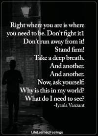 Memes, Run, and World: Right where you are is where  you need to be. Don't fight itl  Don't run away from it!  Stand firm!  Take a deep breath.  And another.  And another.  Now, ask yourself:  Why is this in my world?  What do I need to see?  -Iyanla Vanzant  LifeLearnedFeelings <3