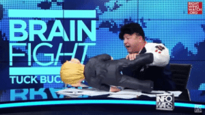 Pinata, Alex Jones, and Brain: RIGHT  WING  WATCH  ORG  BRAIN  FIGHT  TUCK BUC  RKR  INFO  WARS  WA Let's hope Alex Jones attacking a Trump piñata is the weirdest thing you see all day.
