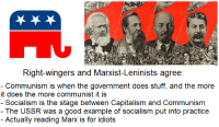 Communist: Right-wingers and Marxist-Leninists agree:  Communism is when the government does stuff, and the more  it does the more communist it is  - Socialism is the stage between Capitalism and Communism  - The USSR was a good example of socialism put into practice  - Actually reading Marx is for idiots