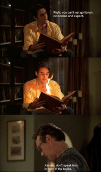 xander: Right, you can't just go librum  incinderae and expect-  Xander, don't speak latin  in front of the books.