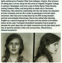 Memes, 🤖, and Deaths: rights activist andaFreedom Rider from Arlington, Virginia. She is known  for taking part in sit-ins, being the first white to integrate Tougaloo College  in Jackson, Mississippi, and to be a part of Delta Sigma Theta Sorority.  Joining Freedom Rides, and being held on death rowin Parchman  Penitentiary. She risked her relationship with her rich family, her education  at Duke University and her life in order to participate in the civil rights  movement. She was even hunted down by the KKK during freedom  summer and escaped miraculously. She ls now retired after teaching  English as a second language for 40 years and has started a foundation  known as the Joan Trumpauer Mulholland foundation that is sought to  educate the youth about the civil rights movement and will also teach youth  how to become activists in their own communities. HBlackHistory  #Black HistoryMonth Respect to Joan Trumpauer Mulholland! Especially as it had to have taken a great deal of strength for this woman to have done what she did. But instead of giving her due credit. I've noticed some so-called black conscious people try to ridicule her simply for being white! Now if the criteria for being conscious is a persons skin colour and not their character. Then to be honest the whole movement is destined to fail as there's already an abundance of black people who's morals and integrity are on sale to the highest bidder! For those who seek conspiracy in everything! Yes her name does contain the word Trump! 🤔📚💻 joantrumpauermulholland