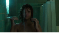Funny, Lmao, and Love: Rihanna dabbing in the shower as Marion Crane in Bates Motel... lmao I love her https://t.co/2ICZ33xyVU
