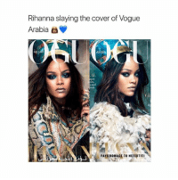Cute: Rihanna slaying the cover of Vogue  Arabia  di  L, ank  d:  PAYS HOMAGE TO NEFERTITI Cute