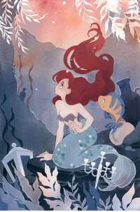 Instagram, Target, and Tumblr: riikkapaints: Fan art based on The Little Mermaid from 1989. 🐟 Can also be found as a print from my Inprnt shop. : Instagram ◆ Patreon ◆ Twitter