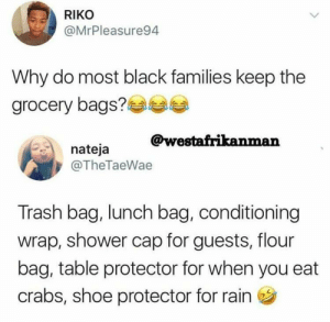 The engine of black creativity never stops: RIKO  @MrPleasure94  Why do most black families keep the  arocery bags?  @westafrikanman  nateja  @TheTaeWae  Trash bag, lunch bag, conditioning  wrap, shower cap for guests, flour  bag, table protector for when you eat  crabs, shoe protector for rain The engine of black creativity never stops