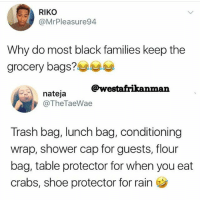 Facts, Lmao, and Lol: RIKO  @MrPleasure94  Why do most black families keep the  grocery bags?  @westafrikanman  nateja  @TheTaeWae  Trash bag, lunch bag, conditioning  wrap, shower cap for guests, flour  bag, table protector for when you eat  crabs, shoe protector for rain Lol bruhhh facts lmao