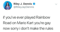 I Dont Make The Rules: Riley J. Dennis  @RileyJayDennis  if you've ever played Rainbow  Road on Mario Kart you're gay  now sorry i don't make the rules