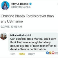 Memes, Brave, and Ford: Riley J. Dennise  @RileyJayDennis  Christine Blasey Ford is braver than  any US marine  9/27/18, 10:55 AM  Mikado Grehnthird  Can confirm. I'm a Marine, and I dont  think I'm brave enough to falsely  accuse a judge of rape in an effort to  derail a Senate confirmation  43m Haha Reply  63546 I second this confirmation. 🎤