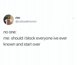 This is self care (credit and consent: @colosalmoron on Twitter): rim  @colosalmoron  no one:  me: should i block everyone ive ever  known and start over This is self care (credit and consent: @colosalmoron on Twitter)