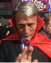 Doctor, Memes, and Mad: RIMIRE Mads Mikkelsen attended the DOCTOR STRANGE premiere wearing the Cloak of Levitation!  (Andrew Gifford)