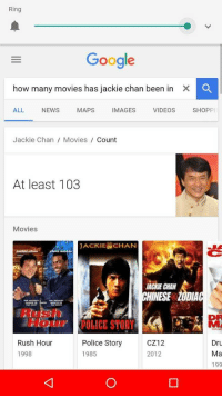 Google, Jackie Chan, and Movies: Ring  Google  how many movies has jackie chan been in  X  ALL NEWS MAPS IMAGES VIDEOS SHOPP  Jackie Chan / Movies Coumt  At least 103  Movies  JACKIEİCHAN  JA  ACKE CHAN  HINESE Z0DIA  Rus  DP  Ei) i  ICE STORY  CZ12  Police Story  1985  Rush Hour  Dru  Ma  199  1998  2012 <p>Cuando Google duda… Todo es relativo</p>