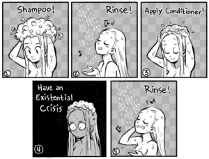 Meirl by loganblade14 MORE MEMES: Rinse! Apply Conditioner!  Shampoo!  3  Have an  Existential  Crisis  Rinse!  4) Meirl by loganblade14 MORE MEMES