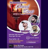 Who's from BRADFORD? I'll be in your city performing stand up this Saturday (24th) for the Chand Raat event at Rio Grande! It's a free event from 6pm till late with lots of activities! But for £6 you can have a buffet there and I'll be performing after Iftar! Shout out to BD3, BD7 & BD8 crew! 😝 Come down and tag your friends below! Look forward to seeing some of you there In'sha'Allah! 🙌🏻: Rio  Grande Presents  RiO  uae:se.ni  Support of Human Appeal  Ali Official  Ismail Hussayn  Khaled Siddique  Saturday 24th June 2017  Time: 6pm Till Late  2 human appeal  Iftaar Buffet E6  Entertainment Including Fashion  Show (Starts After Iftaar)  For stall booking or more info, contact  Saf 07833052061  RIO Venue: Rio Grande  Rl TAt Woodhear Rd Bradford Bo7 1P  144 Woodhead Rd, Bradford BD7 1PD ouny No Who's from BRADFORD? I'll be in your city performing stand up this Saturday (24th) for the Chand Raat event at Rio Grande! It's a free event from 6pm till late with lots of activities! But for £6 you can have a buffet there and I'll be performing after Iftar! Shout out to BD3, BD7 & BD8 crew! 😝 Come down and tag your friends below! Look forward to seeing some of you there In'sha'Allah! 🙌🏻