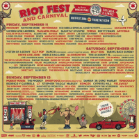 "System of a Down headlines @Riot_fest tomorrow at 8:45pm. Get tix now: http:-bit.ly-1M1ZatS RIOTFEST systemofadown: RIOT FEST  AND CARNIVAL  E2CHICAGO,  ) ILLINOIS  DOUGLAS PARK  11-13  019  RIOTFEST.ORG R TICKETFLY.COM  FRIDAY, SEPTEMB R 11  NO DOUBT FAITH NO MORE MOTORHEAD ICE CUBE&SPECIAL GUESTS TT M  ALKALINE TRIO  COHEED AND CAMBRIA FLOGGING MOLLY SLIGHTLY STOOPID THRICE DIRTY HEADS ANTHRAX  EAGLES OF DEATH METAL AGAINST ME! BAYSIDE MEST ATREYU LEE SCRATCH PERRY THE EXPENDABLES  LIVING COLOUR FISHBONE DEATH MARIACHI EL BRONX EVERY TIME IDIE REAL FRIENDS 88 FINGERS LOUIE  MUSTARD PLUG INTO IT OVERIT POST MALONE WITH FKI CHEF SPECIAL BARB WIRE DOLLS  THE COATHANGERS PRAYERS SPEEDY ORTIZ WHITE MYSTERY GROUND UP SKINNY LISTER  DIRTY FENCES ALEX WILEY HEEMS PSALM ONE DREAMERS FAULKNER ELLZAPOPPINCRCUS SIDESHOW REVUE  SATURDAY, SEPTEMBER 12  RANCID PERFORMING AND OUT COME THE WOLVES BILLY IDOL TAKING BACK SUNDAY  SYSTEM OF A DOWN  IGGY POP  DRIVE LIKE JEHU MERLE HAGGARD ALEXISONFIRE THE ACADEMY IS... PERORMING ALMOS  THE LAWRENCE ARMS ECHO& THE BUNNYMEN BOOTSY COLLINS RUBBER BAND THE DAMNED PENNYWISE  DESAPARECIDOS THE JOY FORMIDABLE THE DEAD MILKMEN  THE THURSTON MOORE BAND FIDLAR MILLENCOLIN AMERICAN NIGHTMARE SWERVEDRIVER GWAR LIFETIME JOYCE MANOR  CIV THE MOVIELIFE STEVE IGNORANT AND PARANOID VISIONS THE DEAR HUNTER THE ATARISATS EXT ours  MODERN LIFE IS WAR PERFORMING WITNESS FIT FOR RIVALS FLATFOOT 56 TEENAGE BOTTLEROCKET CHON COUNTERPUNCH  DIRECT HIT! SLEEP ONIT THE BROKEDOWNS MEAT WAVE ELWAY INDIAN HANDCRAFTS PEARS CLOWNS  DIE SELLOUTZ HELLZAPOPPIN CIRCUS SIDESHOW REVUE  THE DEVIL WEARS PRADA MAYDAY PARADE BABES IN TOYLAND  SUNDAY, SEPTEMBER 13  MODEST MOUSE THE PRODIGY SNOOP DOGG PERFORMING DOGCYSTYLE DAMIAN JR.GONG MARLEY TENACIOUS D  RODRIGOY GABRIELA L7 STEPHEN ""RAGGA"" MARLEY KONGOS CYPRESS HILL YELAWOLF  THE AIRBORNE TOXIC EVENT MANCHESTER ORCHESTRA DE LA SOUL ANDREW MCMAHON IN THE WILDERNESS NEW POLITICS  JIMMY CLIFF ANDREW W.K LESS THAN JAKE MORGAN HERITAGE DOOMTREE HUM TARRUS RILEY  THE DWARVES CUTS&PUSSY TOMMY STINSON KEVIN DEVINE JO MERSA ALVVAYS THE WHITE BUFFALO BLACK-AM-I  SKIP MARLEY KNUCKLE PUCK JAZZ CARTIER HAVE MERCY SUPERHEAVEN FOXING BEACH SLANG CAYETANA BLIS  NORTHERN FACES SOUVENIRS SKATING POLLY SIGNALS MIDWEST MODERN CHEMISTRY TASHA THE AMAZON FOXTROTT  TWIN RIVER INDIAN SCHOOL THE MUNICIPAL DRAINAGE PROJECT HELLZAPOPPIN CIRCUS SIDESHOW REVUE  RIOT FEST 2013  LIMITED  TICKETS  AVAILABLE  107  lost fm System of a Down headlines @Riot_fest tomorrow at 8:45pm. Get tix now: http:-bit.ly-1M1ZatS RIOTFEST systemofadown"