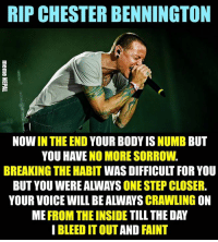 Voice, Nepali, and Step: RIP CHESTER BENNINGTON  NOW IN THE END YOUR BODY IS NUMB BUT  YOU HAVE NO MORE SORROW.  BREAKING THE HABIT WAS DIFFICULT FOR YOU  BUT YOU WERE ALWAYS ONE STEP CLOSER.  YOUR VOICE WILL BE ALWAYS CRAWLING ON  ME FROM THE INSIDE TILL THE DAY  I BLEED IT OUT AND FAINT