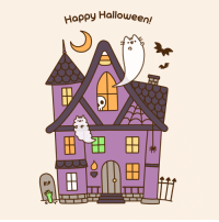 Happy Halloween!  Animated version: http://www.pusheen.com/post/132295269741: RIP  Happy Halloween Happy Halloween!  Animated version: http://www.pusheen.com/post/132295269741