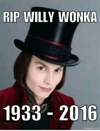 :^): RIP WILLY WONKA  1933 2016  mematic net :^)