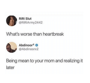 Meirl: RiRi Slut  @RiRiArmy2442  What's worse than heartbreak  Abdinoor2  @Abdinoorx2  Being mean to your mom and realizing it  later Meirl