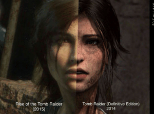 Does somebody know why the change?: Rise of the Tomb Raider  (2015)  Tomb Raider (Definitive Edition)  2014 Does somebody know why the change?