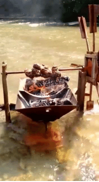 Memes, Roast, and Cool: River powered spit roast! How cool is that?