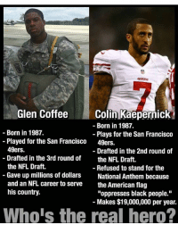 "San Francisco 49ers, Colin Kaepernick, and Memes: Rivers  49ERS  Glen Coffee  Colin Kaepernick  Born in 1987.  Born in 1987.  Plays for the San Francisco  Played for the San Francisco 49ers.  49ers.  Drafted in the 2nd round of  Drafted in the 3rd round of  the NFL Draft.  the NFL Draft.  Refused to stand for the  Gave up millions of dollars  National Anthem because  and an NFL career to serve  the American flag  his country.  ""oppresses black people.""  Makes $19,000,000 per year.  Whois the real hero? BIG things coming to this account tomorrow!"