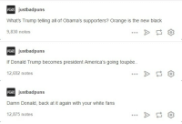 justbadpuns:  Here are the best puns about Donald Trump here on @justbadpunsFollow here for more puns! : Rjustbadpuns  What's Trump telling all of Obama's supporters? Orange is the new black  9,830 notes   Rjustbadpuns  If Donald Trump becomes president America's going toupée  12,692 notes  BUNS   justbadpuns  Damn Donald, back at it again with your white fans  12,875 notes justbadpuns:  Here are the best puns about Donald Trump here on @justbadpunsFollow here for more puns!