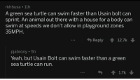 Run, Usain Bolt, and Yeah: rkhbusa 11h  A green sea turtle can swim faster than Usain bolt can  sprint. An animal out there with a house for a body can  swim at speeds we don't allow in playground zones  35MPH  Reply 12.7k  pjabrony.5h  Yeah, but Usain Bolt can swim faster than a green  sea turtle can run. Got em!