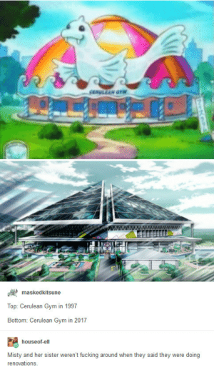 if only my life accomplished as much in 20 years: rM  askedkitsune  Top: Cerulean Gym in 1997  Bottom: Cerulean Gym in 2017  houseof-ell  Misty and her sister weren't fucking around when they said they were doing  renovations if only my life accomplished as much in 20 years