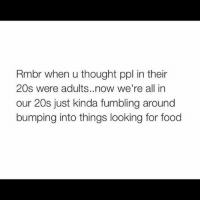 Af, Food, and Funny: Rmbr when u thought ppl in their  20s were adults. now we're all in  our 20s just kinda fumbling around  bumping into things looking for food 😂😂 true af