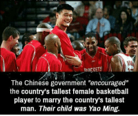 """Basketball, Yao Ming, and Chinese: RnCKETS  The Chinese government """"encouraged""""  the country's tallest female basketball  player to marry the country's tallest  man. Their child was Yao Ming. https://t.co/knWMLKJCAd"""