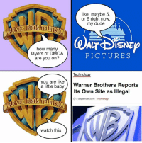 Baby, It's Cold Outside, Dank, and Disney: RNE  like, maybe 5,  or 6 right now,  my dude  CT DISNE  how many  layers of DMCA  PICTURES  are you on?  Technology  you are like  a little baby  Warner Brothers Reports  Its own site as lllegal  5 September 2016 Technology  watch this Layers of DMCA: Warner Bros vs. Disney For more info: http://bit.ly/2drXlzo Credit: Unknown