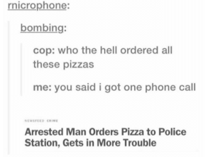 Crime, Hungry, and Phone: rnicrophone:  bombing:  cop: who the hell ordered all  these pizzas  me: you said i got one phone call  NEWSFEED CRIME  Arrested Man Orders Pizza to Police  Station, Gets in More Trouble protip: dont do that (unless you're hungry and the cops are too)