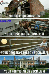(GC): RNING  INT USA  YOUR CITY ON SOCIALISM  Marich  YOUR HOSPITAL ON SOCIALISM  YOUR GROCERY STORE ON SOCIALISM  fi  YOUR POLITICIAN ON SOCIALISM (GC)