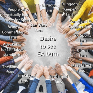 Sports, Star Wars, and Iris: rnout Dungeo  fans  Keep  fa  People  ric  ctually h  rlope Torpor  Star Wars  Wing  Commande  ans  ran  Desire  Sports  rand  for fair la  stand  Ultima  fri  EA burr  ains  Mass Effect  The Sim  fans  rar  Si  Battlefield  iris United we stand