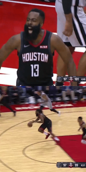 Rockets rally from 25 down to beat the Spurs. Biggest comeback in franchise history.  Harden: 28 PTS (10-29 FG) 8 REB, 7 AST Westbrook: 31 PTS (11-25 FG) 10 REB, 4 AST  https://t.co/I7PU6nhh74: RO KIT  HOUSTON  13  101 4:46  97   97 4 99 4:51 Rockets rally from 25 down to beat the Spurs. Biggest comeback in franchise history.  Harden: 28 PTS (10-29 FG) 8 REB, 7 AST Westbrook: 31 PTS (11-25 FG) 10 REB, 4 AST  https://t.co/I7PU6nhh74