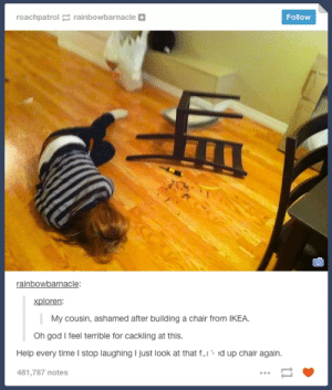 Cackling: roachpatrolrainbowbarnacle  Follow  rainbowbarnacle:  xploren:  My cousin, ashamed after building a chair from IKEA.  Oh god I feel terrible for cackling at this.  Help every time I stop laughing I just look at that ft d up chair again  481,787 notes